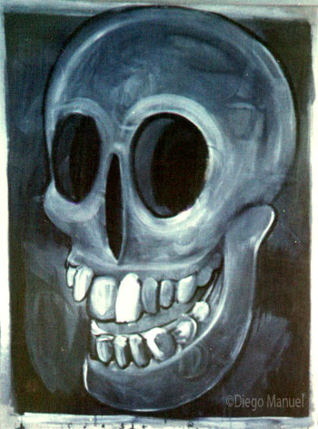 Calavera que rie 2, painting pop surrealism