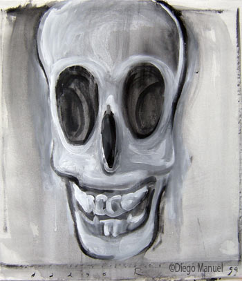 calavera que rie 4, painting pop surrealism