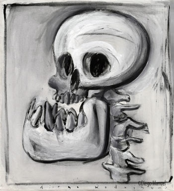 calavera que rie, painting pop surrealism