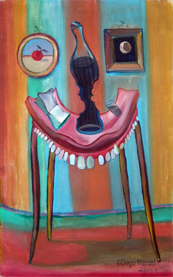 mesa con dientes, acrylic on canvas, 65 x 45 cm.