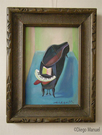 piano cachorro, acrylic on canvas, with frame: 34 x 26 cm, year 2008, pintura de la Serie Piano del artista Diego Manuel