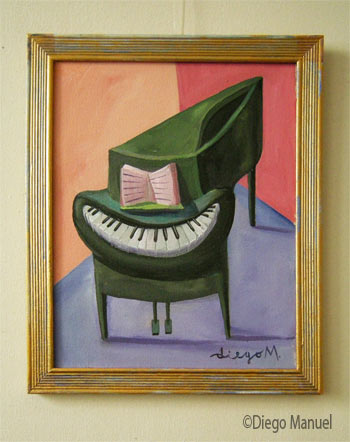 piano sonrisa , acrylic on canvas, with frame: 28 x 23 cm, year 2008, pintura de la Serie Piano del artista Diego Manuel